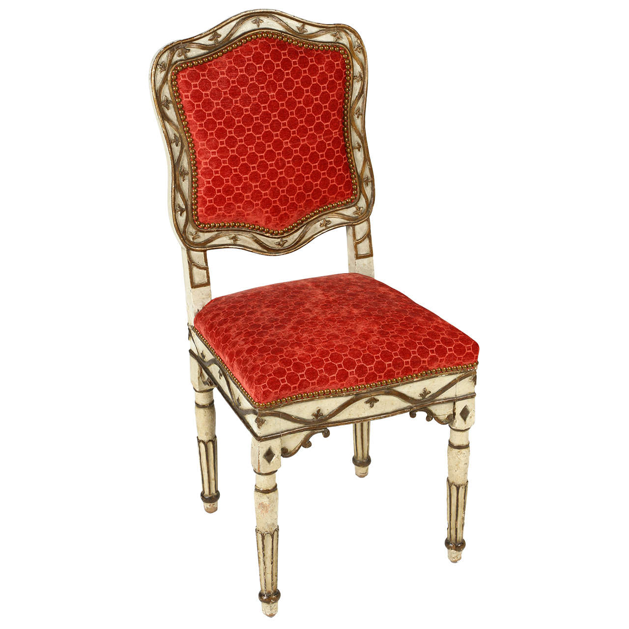 Louis XVIII Parcel Gilt Upholstered Chair For Sale