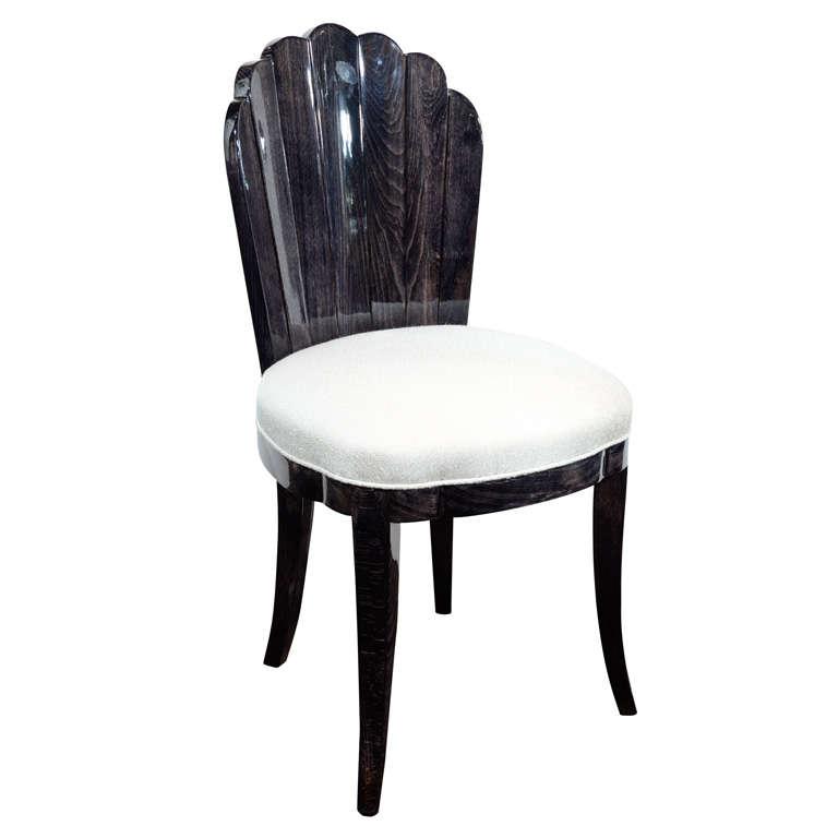 Art Deco Carved Walnut Fan Back Vanity Chair