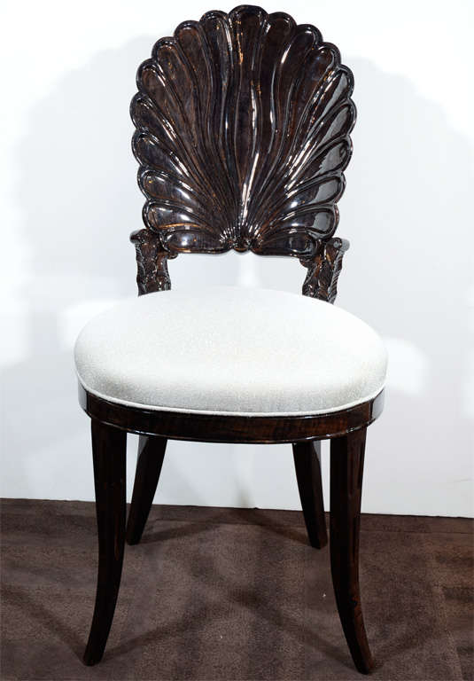 1940 39 S Hollywood Vanity Chair With Carved Shell Back Design At 1stdibs