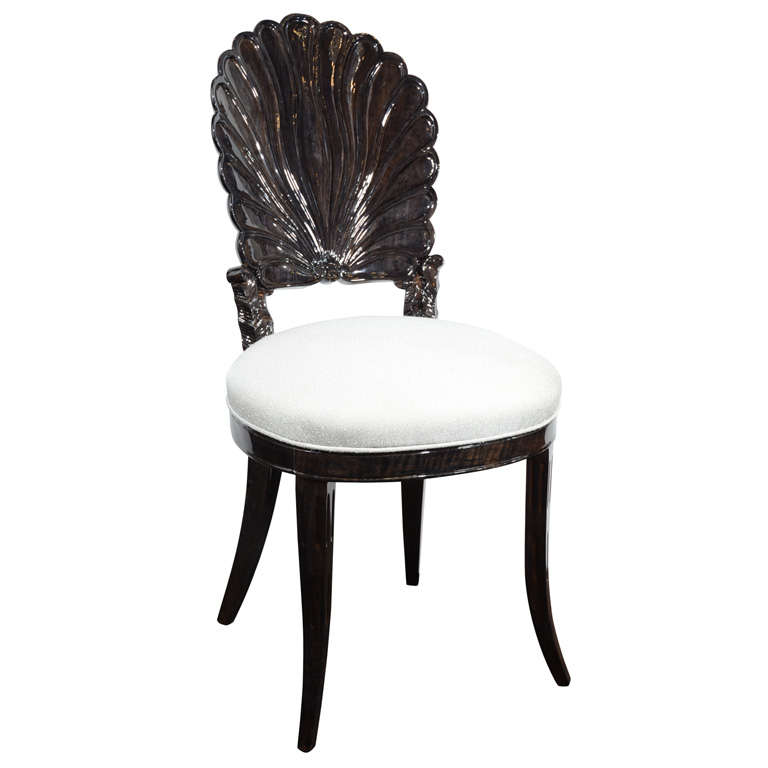 1940 S Hollywood Vanity Chair With Carved Shell Back