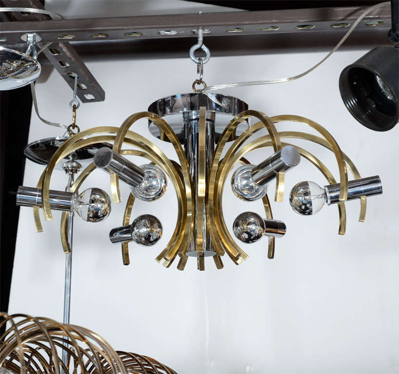Sophisticated Mid-Century Modernist Brass and Chrome Chandelier by Sciolari 2