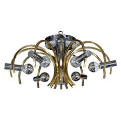 Sophisticated Mid-Century Modernist Brass and Chrome Chandelier by Sciolari