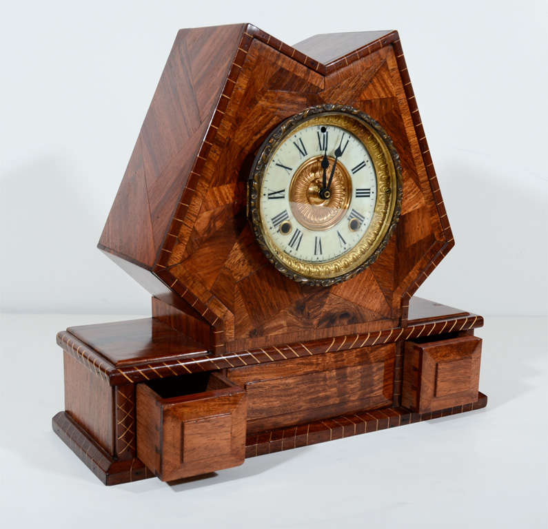 Handsome arts and crafts inlaid exotic wood mantle clock for Arts and crafts clocks for sale