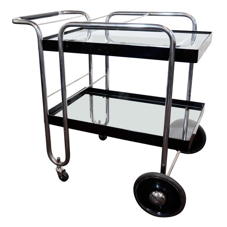 Art Deco Machine Age Bar Cart By Wofgang Hoffman At 1stdibs