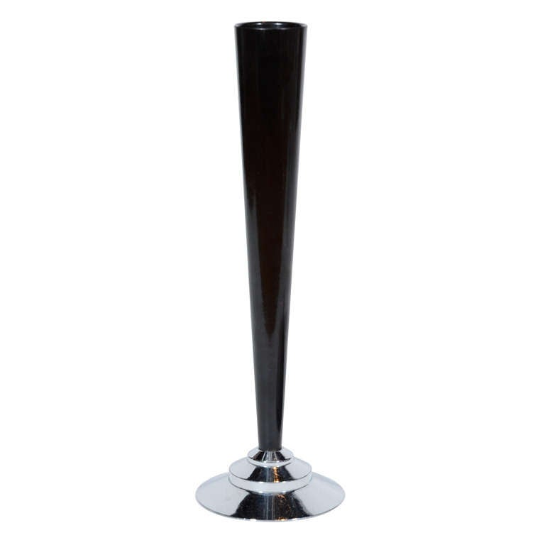 Art Deco Machine Age Bakelite And Chrome Bud Vase For Sale At 1stdibs