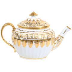 A Coalport White and Gilt Neoclassical Tea Pot with Greek Key Design