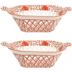 A Pair of Late 18th Century Pierced Creamware  Baskets