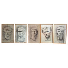 Set of Five Renée Mourgue Classical Pencil Drawings