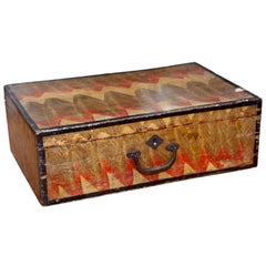 Naive Grain-Painted Wooden Suitcase
