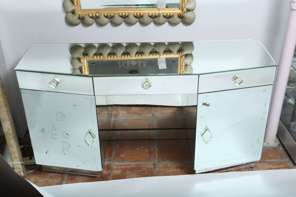 A Vintage Bevelled Mirrored Desk Vanity With Three Draws Bevel Handels And