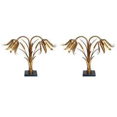 Pair of Italian Brass and Marble Floral Lamps