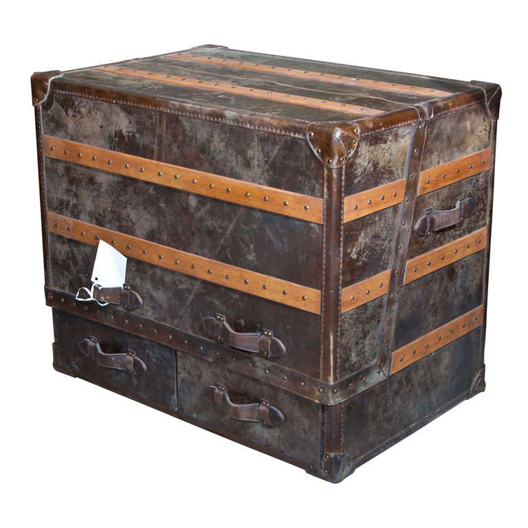 Two Leather and Cowhide Trunk Desk