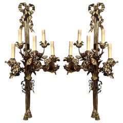 Pair Antique Gilt Bronze  Louis XVI Sconces