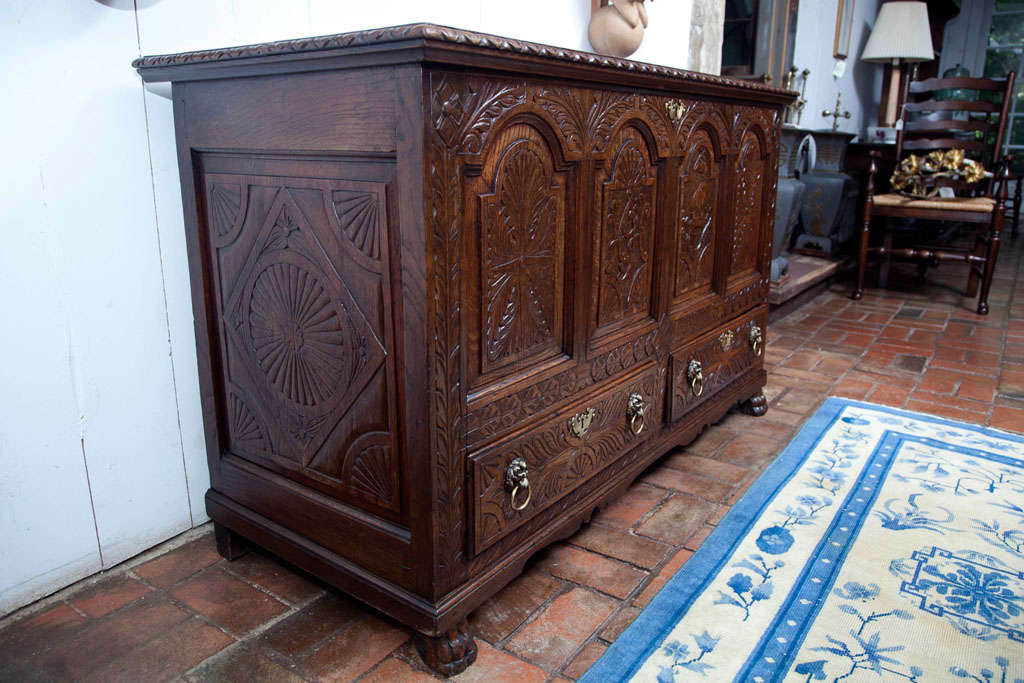 British English Carved Oak Coffer Chest For Sale