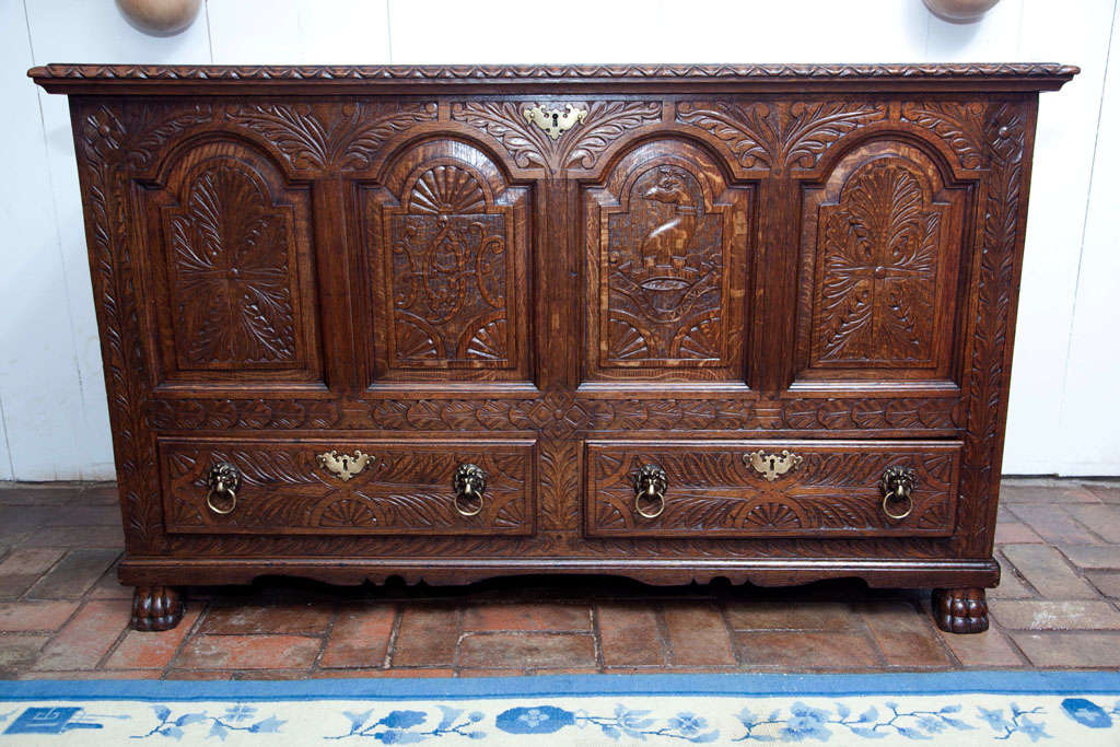 19th Century English Carved Oak Coffer Chest For Sale