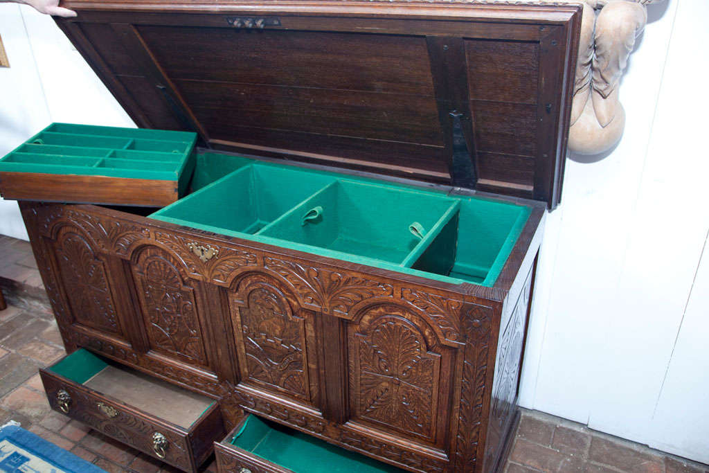 English Carved Oak Coffer Chest For Sale 2
