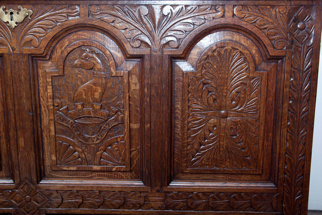 English Carved Oak Coffer Chest For Sale 3