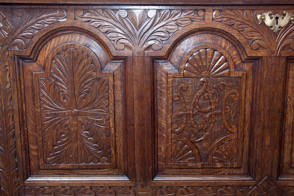 English Carved Oak Coffer Chest For Sale 4