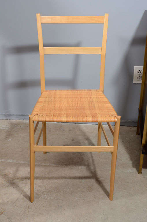 Gio Ponti superleggera chair with caned seat.