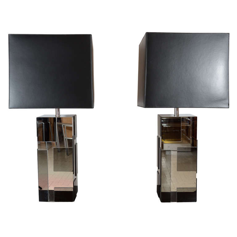 Pair Of Smoked Mirrored Lamps At 1stdibs