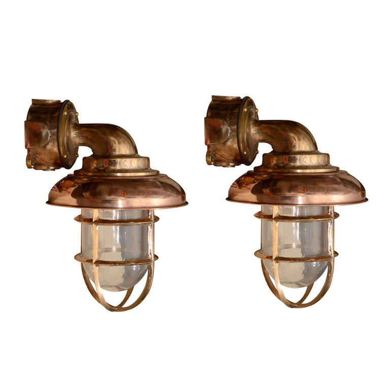 Pair Of Dutch Copper And Brass Nautical Sconces At 1stdibs