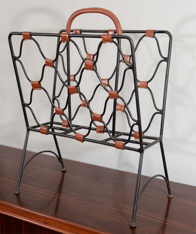 French Jacques Adnet Magazine Holder For Sale