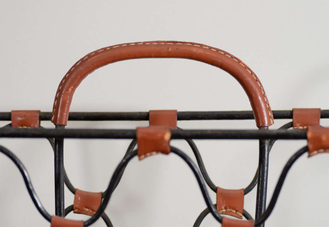 Leather Jacques Adnet Magazine Holder For Sale