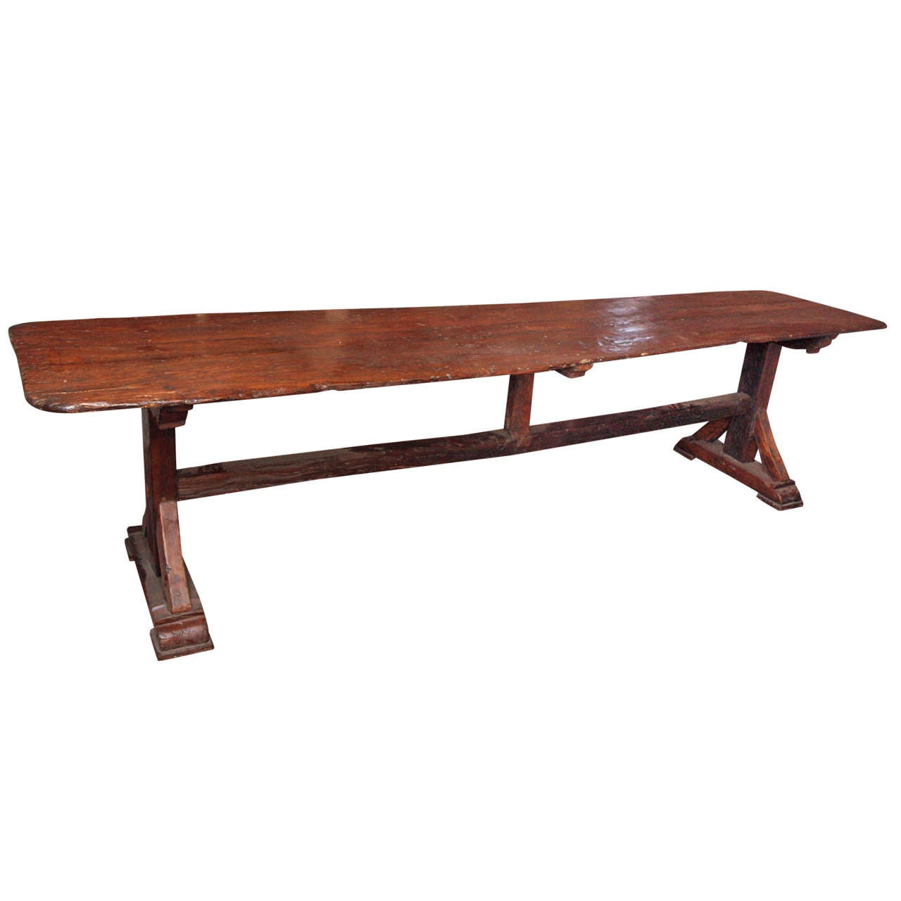 Oak trestle table at stdibs