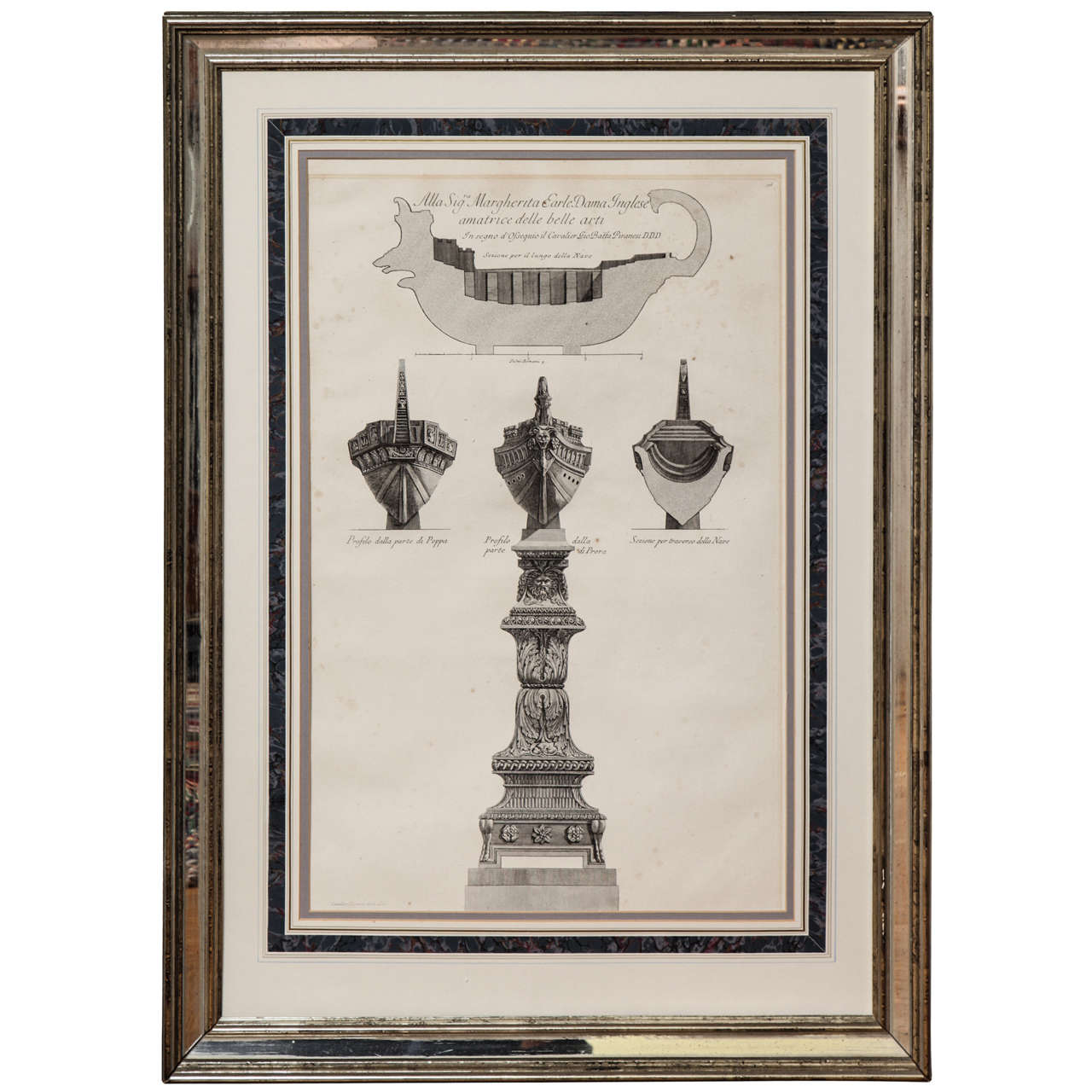 Antique etching for framing