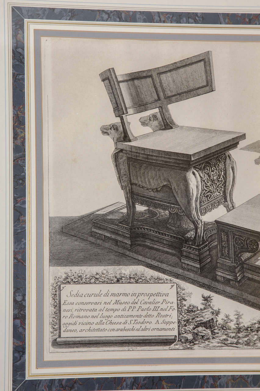 Ancient roman chair - Framed Antique Etching By Piranesi Of An Ancient Roman Curule Chair 3