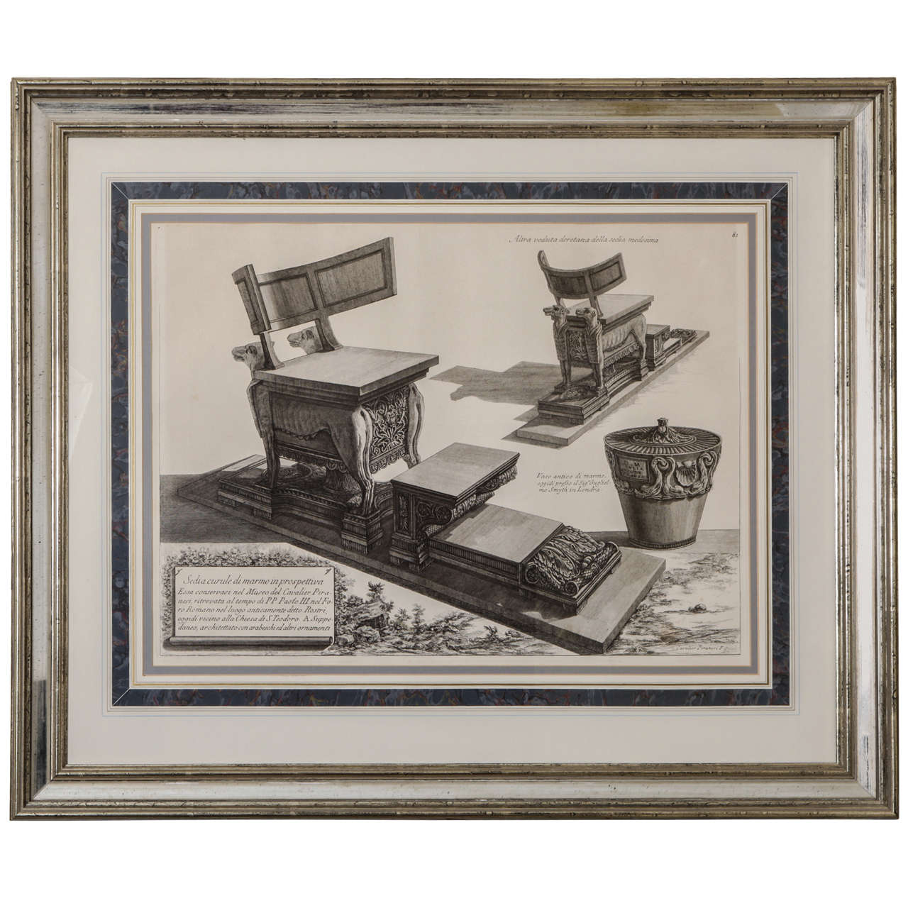 Ancient roman furniture chairs - Framed Antique Etching By Piranesi Of An Ancient Roman Curule Chair 1