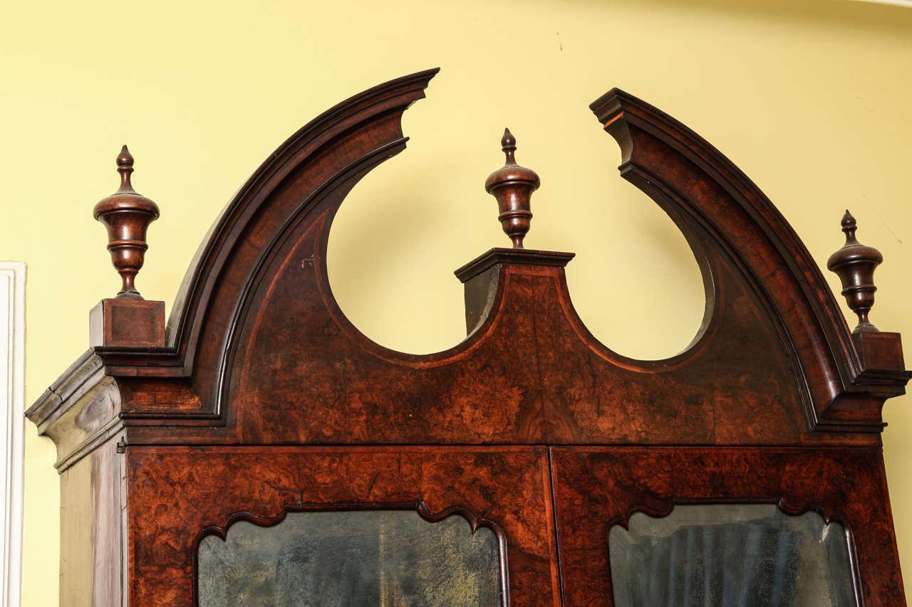 British Fine Burr Walnut George I Bureau Bookcase For Sale