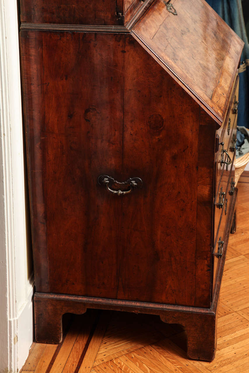 Fine Burr Walnut George I Bureau Bookcase For Sale 1