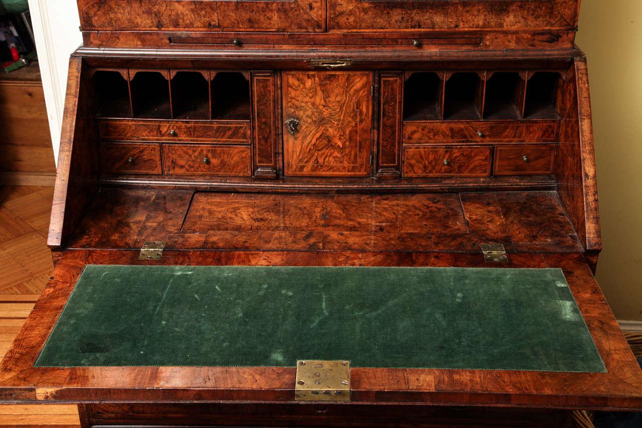 Fine Burr Walnut George I Bureau Bookcase For Sale 2