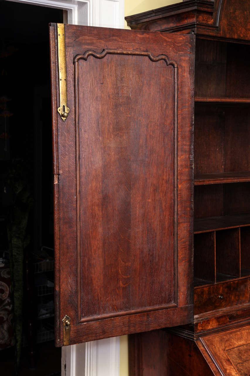 Fine Burr Walnut George I Bureau Bookcase For Sale 5