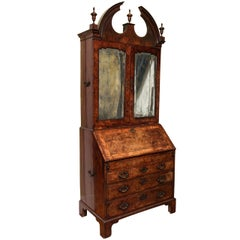 Fine Burr Walnut George I Bureau Bookcase