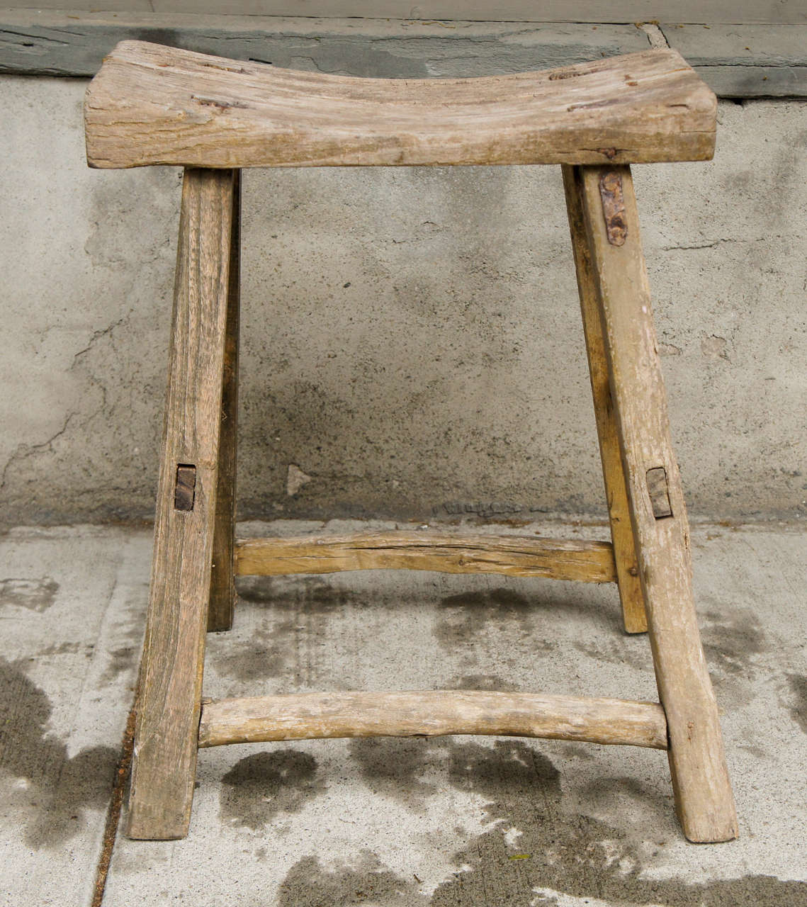 18th Century Chinese Weathered Elm Stool image 2