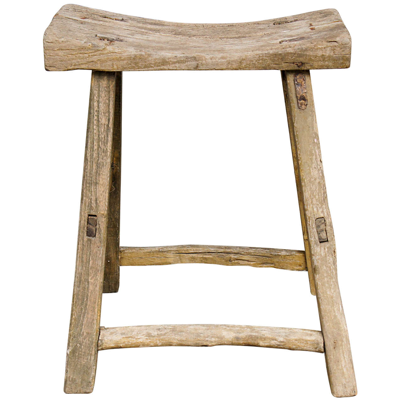 18th Century Chinese Weathered Elm Stool