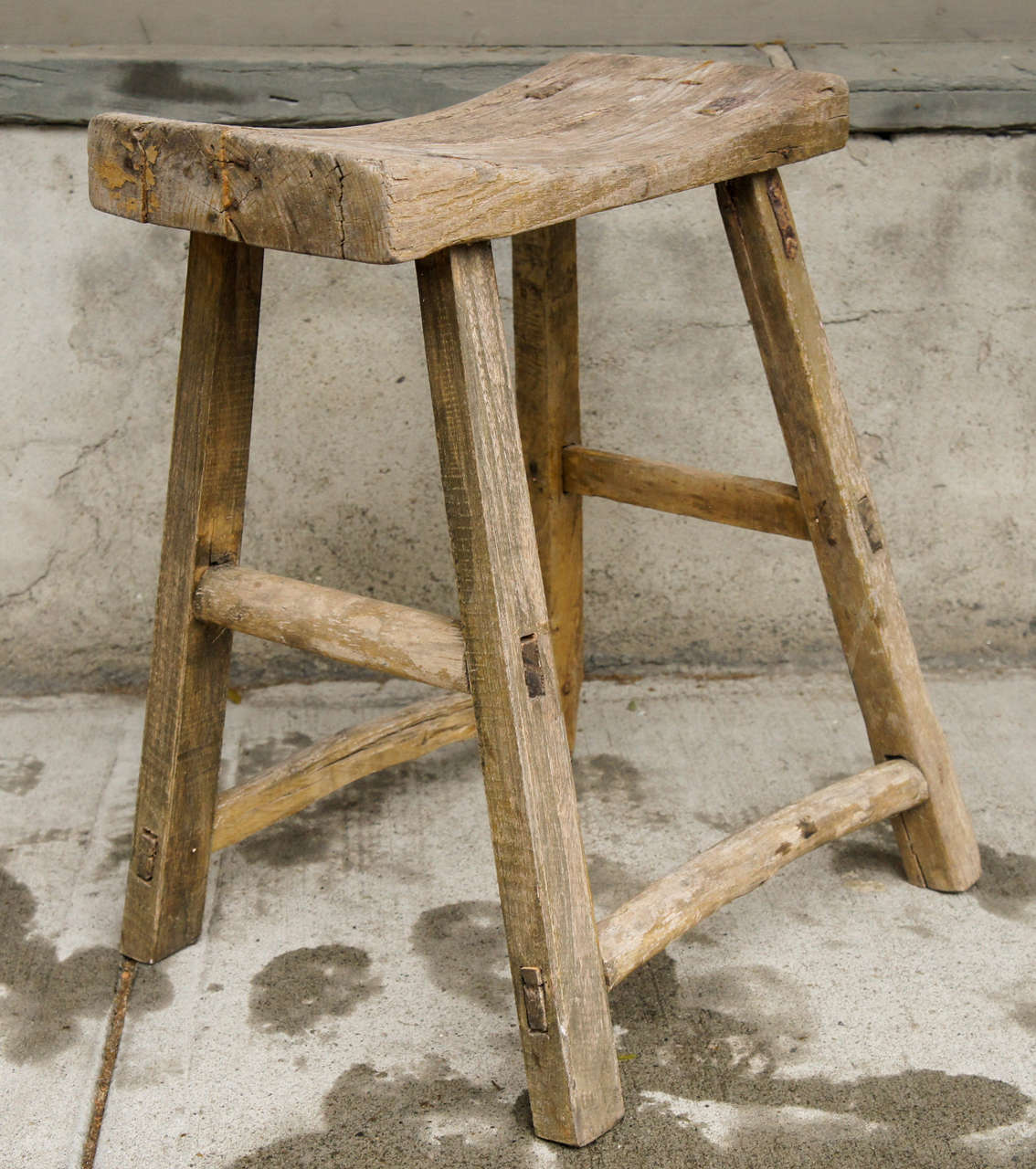 18th Century Chinese Weathered Elm Stool image 3