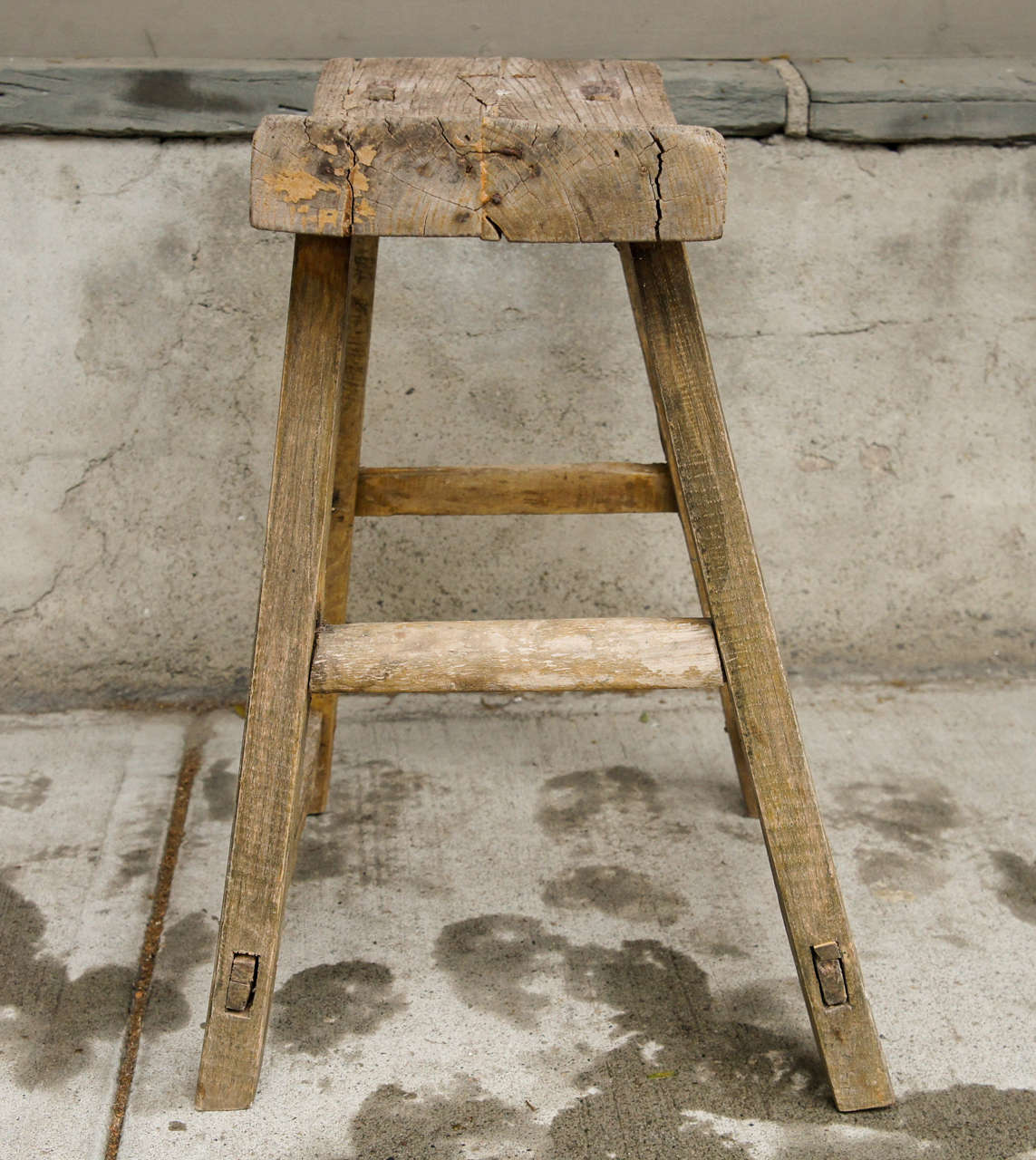 18th Century Chinese Weathered Elm Stool image 4