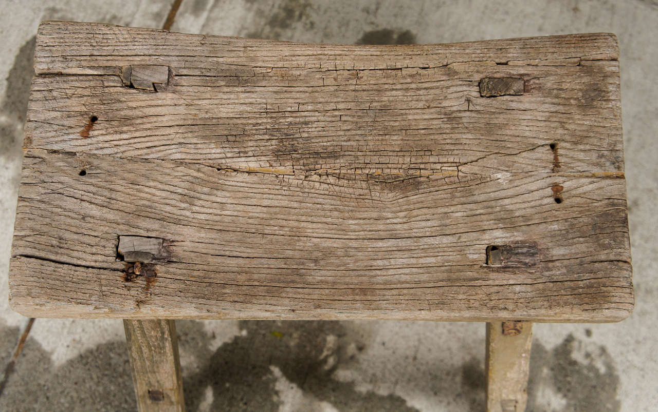 18th Century Chinese Weathered Elm Stool image 5