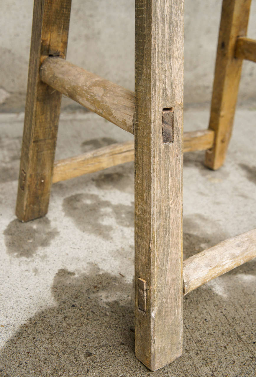 18th Century Chinese Weathered Elm Stool image 7