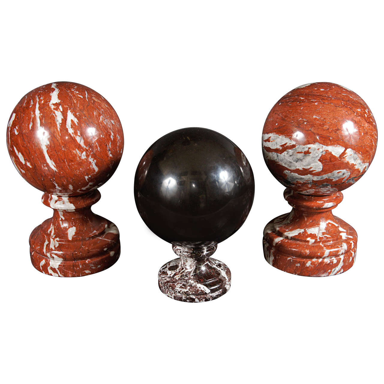 A Decorative Collection of Italian Specimen Marble Spheres on Stands