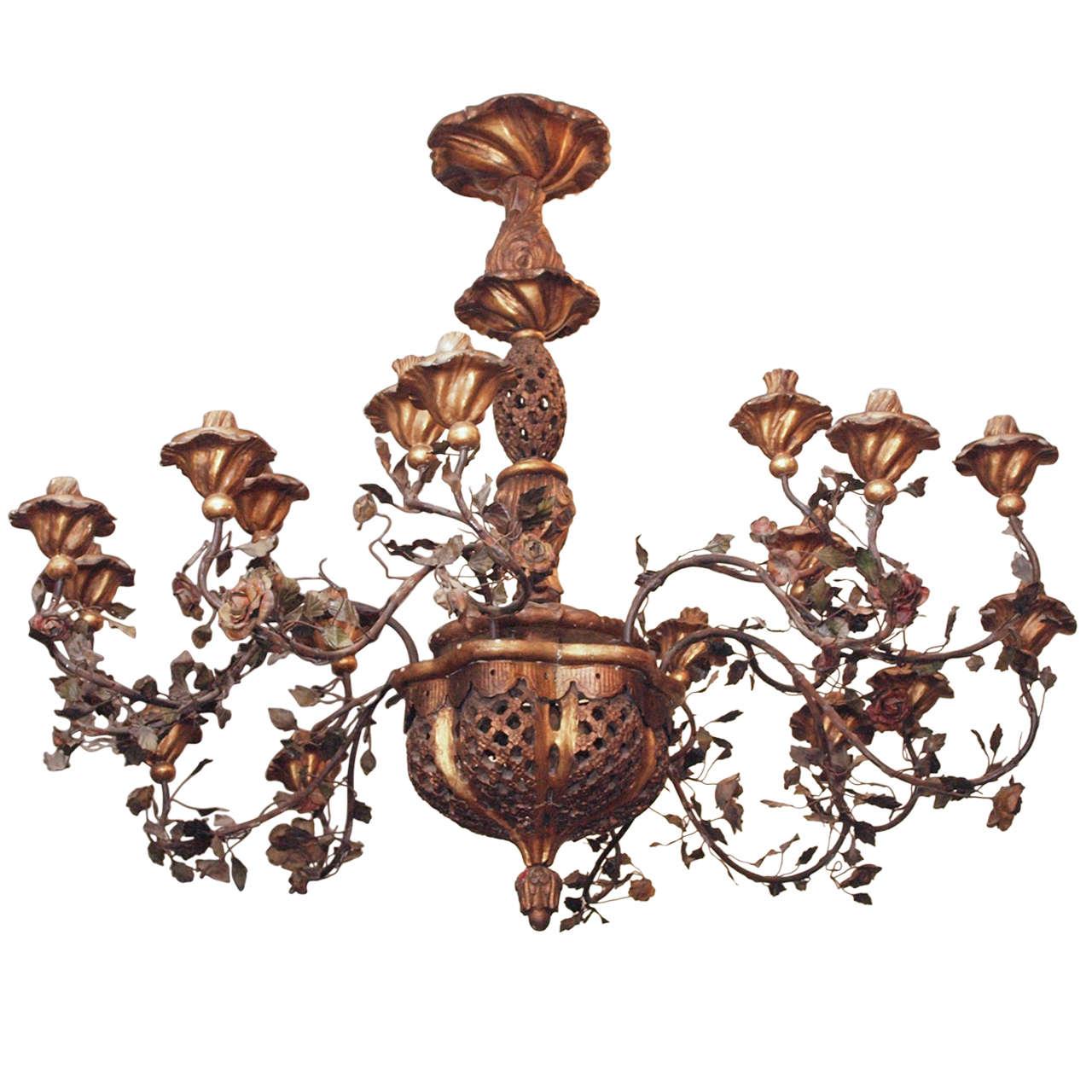 """Italian """"Flower Basket"""" Chandelier"""