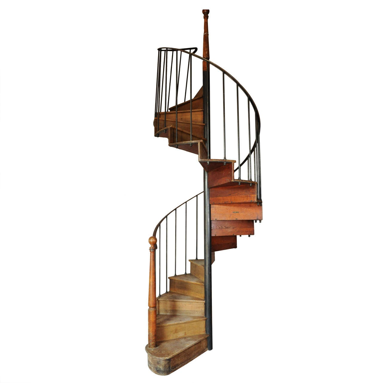 Antique Oak And Iron Spiral Staircase At 1stdibs