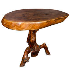 Organic Wood Occasional Table with Slab Top in the Style of George Nakashima