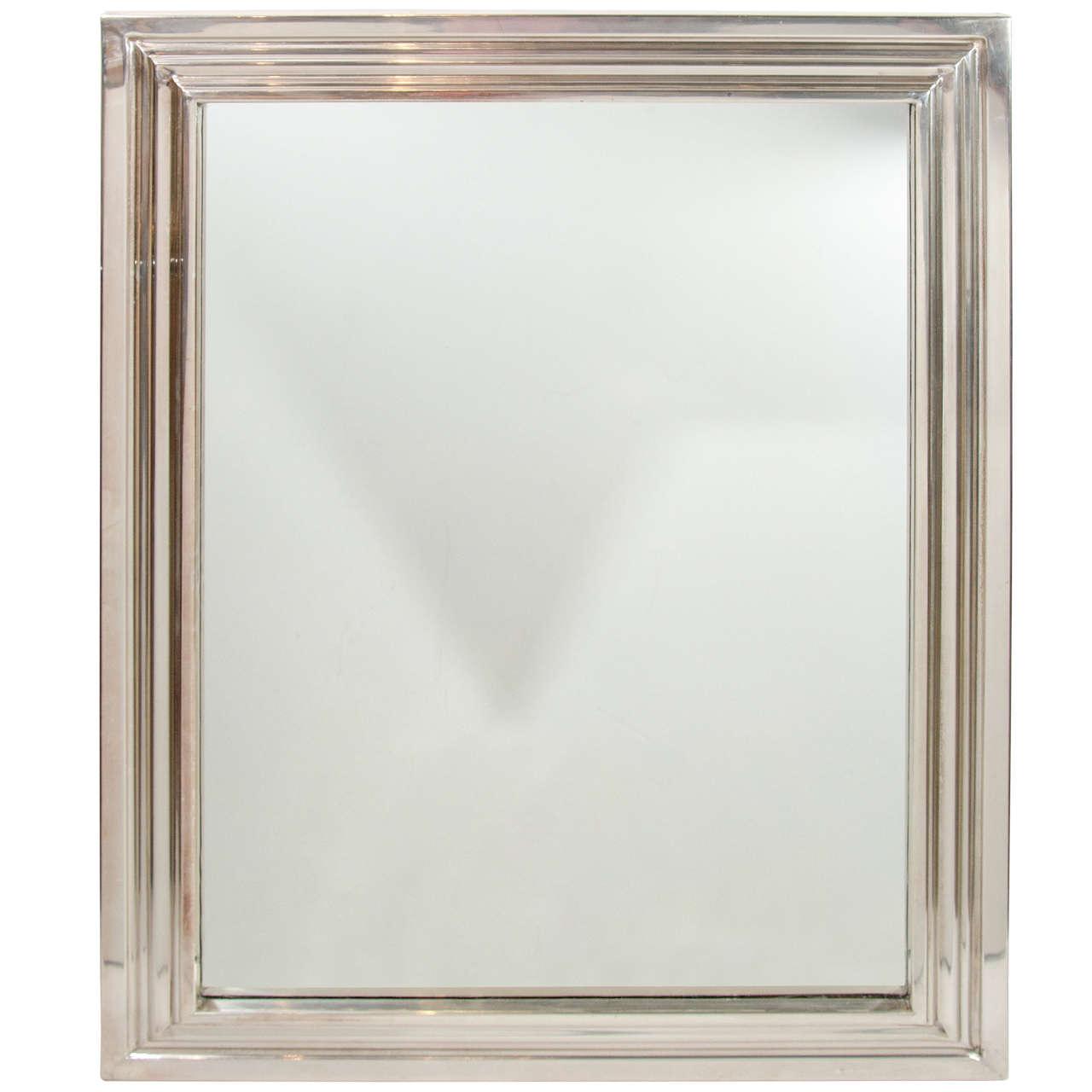 Elegant chrome mid century modern mirror with triple for Elegant mirrors