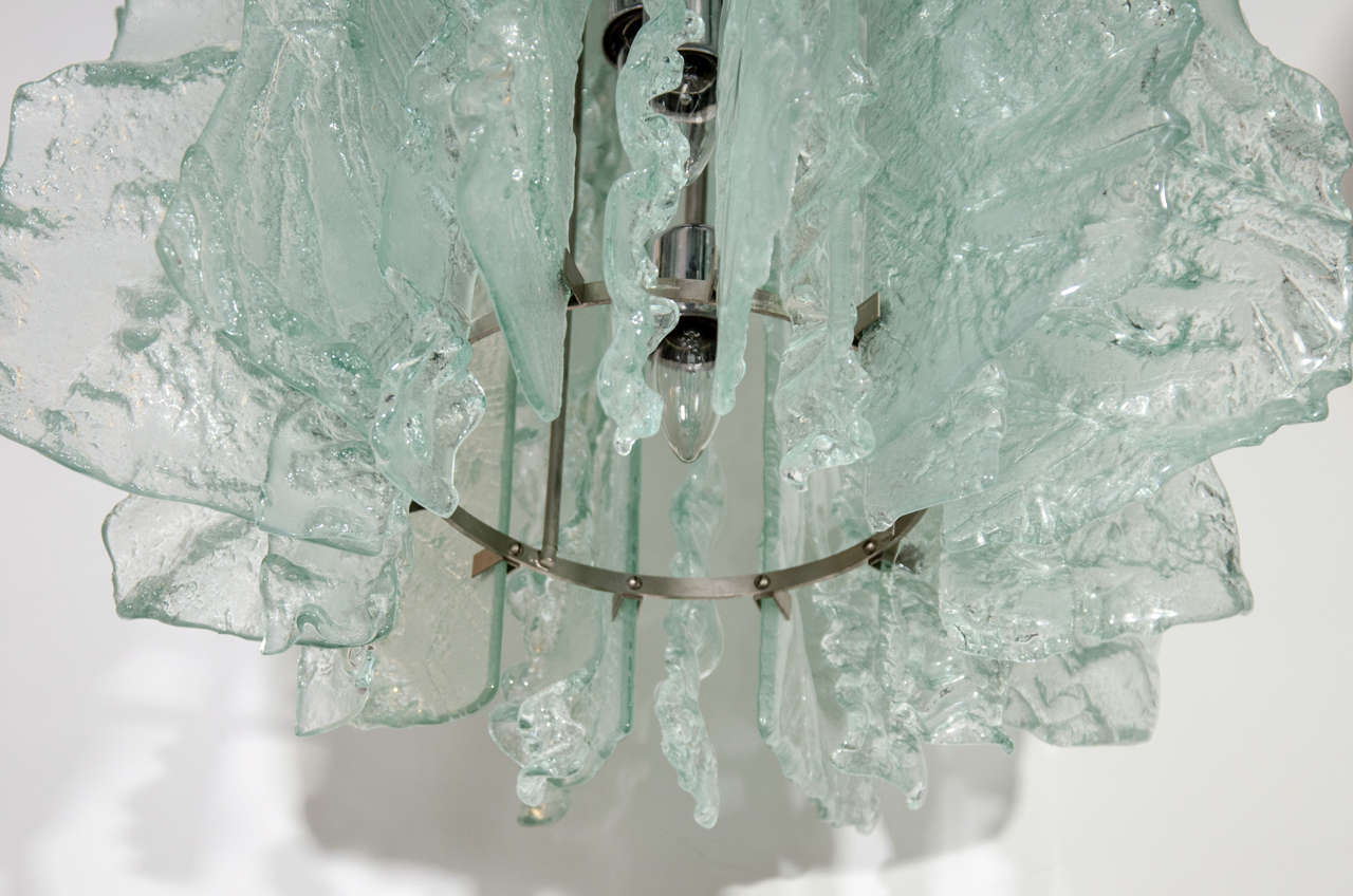 Late 20th Century Mid Century Modern Large Ice Glass Chandelier with Relief Design For Sale