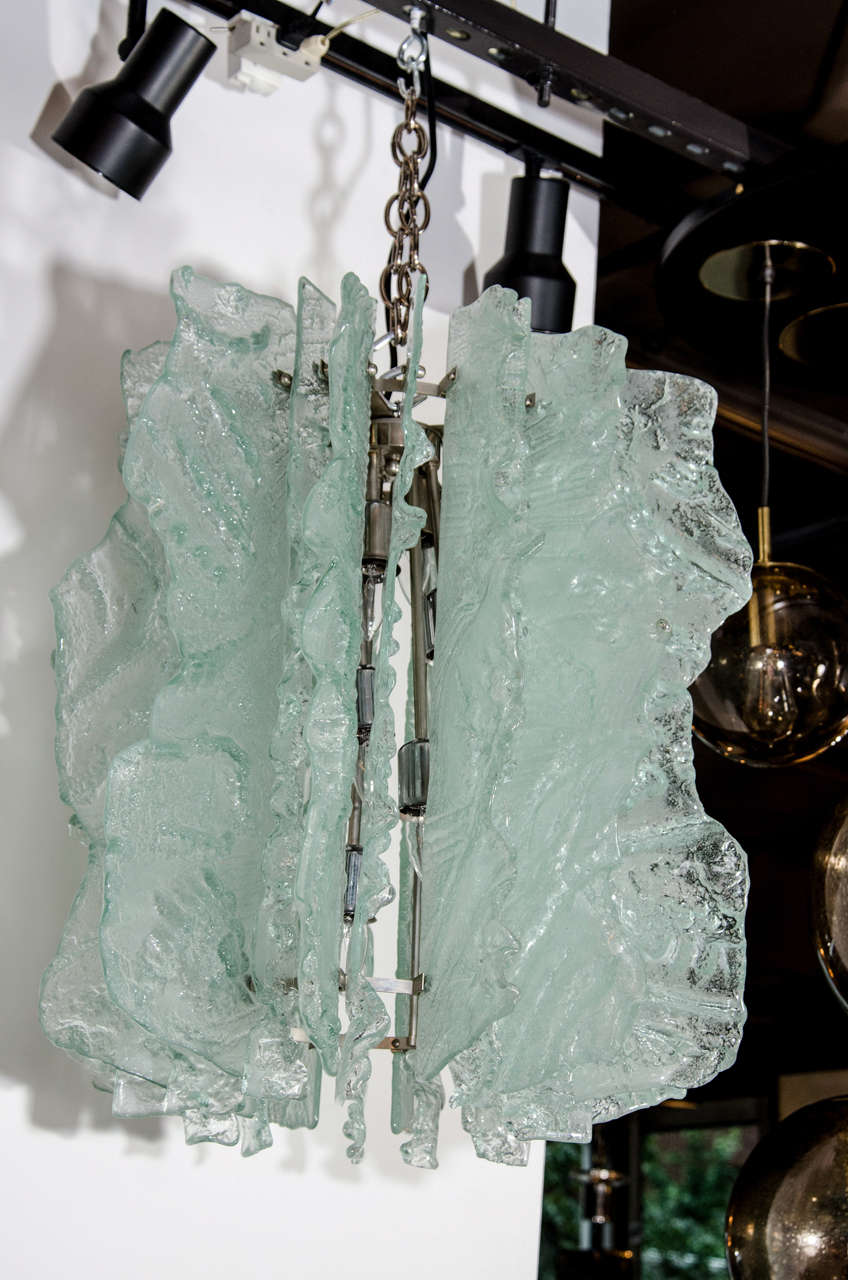 Mid Century Modern Large Ice Glass Chandelier with Relief Design For Sale 1