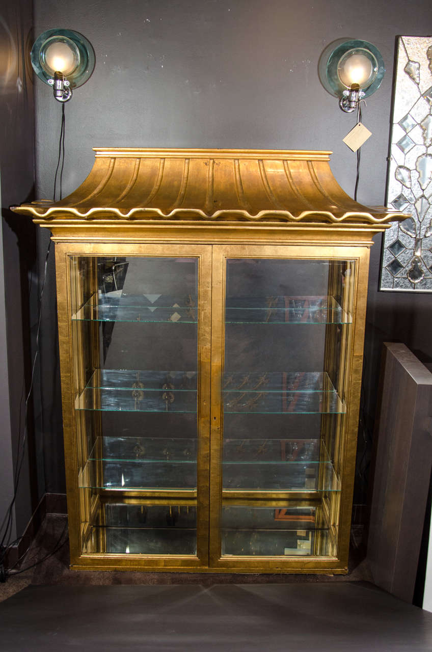Design Vitrine exceptional illuminated vitrine with pagoda design in the manner of